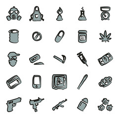 Drug Cartel Icons Freehand 2 Color