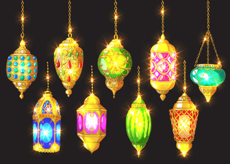 Islamic colorful holiday vector background