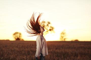 woman field Italian style sunset