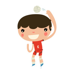 volleyball boy. flat ui style character.