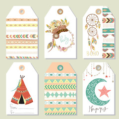 Light green gold pink tag sale in boho style on summer with tent