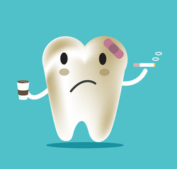 unhealthy tooth with coffee and smoke, great for dental care. vector