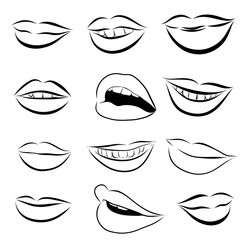 Set of Pop Art Lips on a white background. Vector