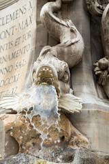 Close up of  Fountain of the Pantheon (Fontana del Pantheon)  at Piazza della Rotonda .. Rome,  Italy