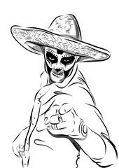 Day of the dead sugar skull man vector. Mexican skull. Dia de los muertos. EPS10 illustration.