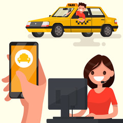 Order a taxi through the app on your phone. Vector illustration