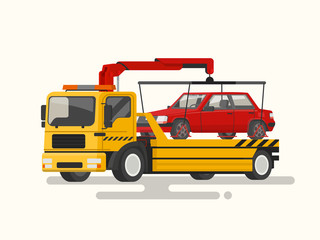Tow truck transporting a broken machine. Vector illustration