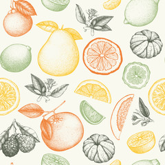 Vector seamless pattern with ink hand drawn citrus fruit, flowers, slice and leaves sketch. Vintage citrus background in pastel colors
