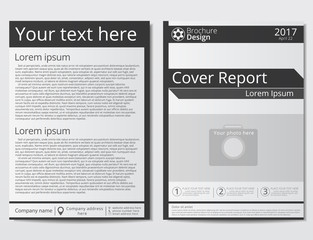 Vector flyer brochure design geometric template abstract. White black colors. Minimalistic technology style. A4 size.