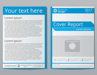 Vector flyer brochure design geometric template abstract. White blue colors. Minimalistic technology style. A4 size.