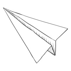 Vector Single Sketch Paper Plane