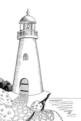 Lighthouse graphic art black white sea landscape illustration vector