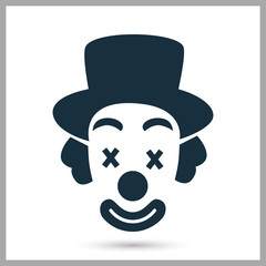 Clown icon on the background
