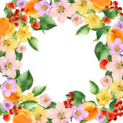 watercolor flowers fruit