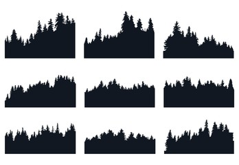 Set of forest silhouette
