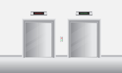 set of elevator or lift with closed doors go up to success