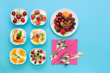 Six yogurts ready to eat.