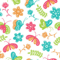 Children's doodle style vector seamless pattern with cute buterf