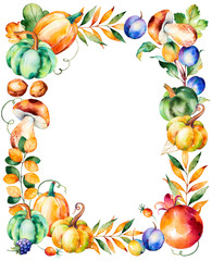 Beautiful watercolor frame border with fall leaves,branches,berry,blackberry,mushroom,pumpkins,walnut,pomegranate,prunes and more.Autumn harvest frame with place for your text.For your create