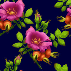 seamless pattern of bright rose