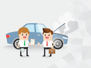 businessman thumb up and auto insurance staff with checklist clipboard. take care of yourself and others and save even more on your auto insurance with premium services. copy space