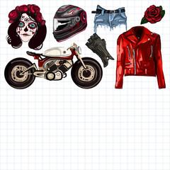 Poster Aquarel Schedel Motorcycle fashion Biker digital watercolor pictures