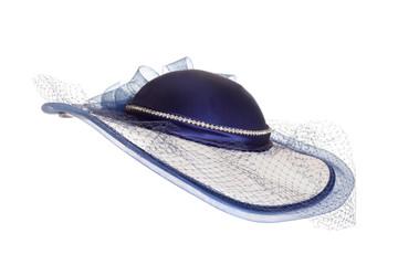 ladies blue hat with veil