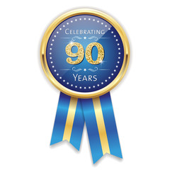 Blue celebrating 90 years badge, rosette with gold border and ribbon