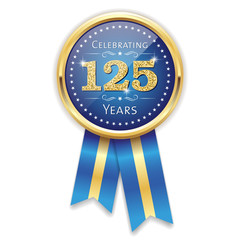 Blue celebrating 125 years badge, rosette with gold border and ribbon