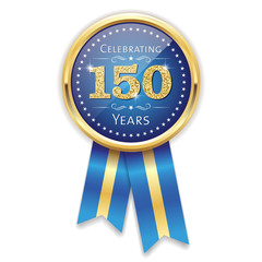 Blue celebrating 150 years badge, rosette with gold border and ribbon