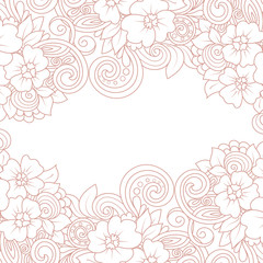 Vector card template with floral pattern. Hand drawn zentangle background