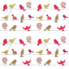 Cute birds on wire seamless pattern. Vector background with cartoon birds.