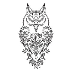 The outline of the owl is black, with patterns for drawing, vector.
