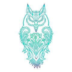 Owl contour-coloured, with patterns for painting, vector.