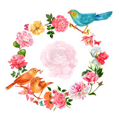 Vintage wreath with hand drawn watercolor flowers, birds and butterflies