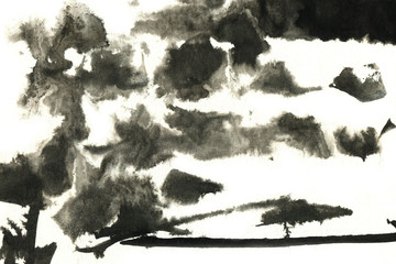 Abstract black ink stain. Chinese ink background on watercolor paper. Other black stains you'll find in my portfolio.
