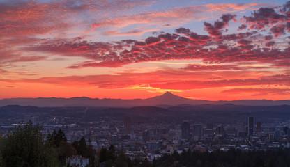 Colorful sunrise of Portland, Oregon