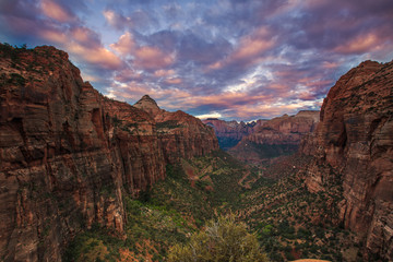 Colorful sunrise from Zion National Park