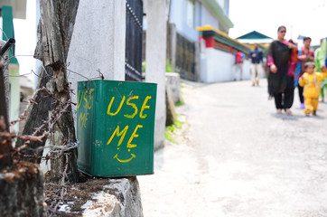 Litter Bin with invitation to use in India