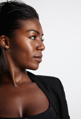 black woman's profile with a strobing skin