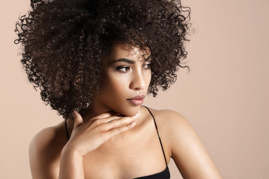 black woman with an afro hair