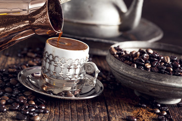 Turkish coffee on wooden table