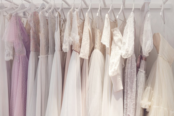 Wonderful bridal gowns in a store