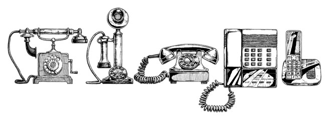 evolution set of telephone