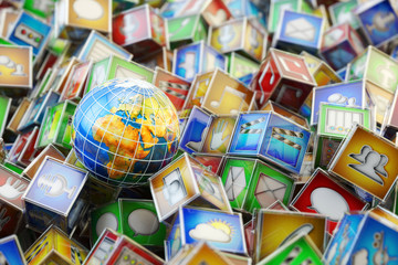 Online store market with mobile applications, computer software and multimedia technology concept, Earth globe on heap of multicolored boxes with app icons