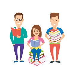 students reading books.young men and woman with book isolated on white background