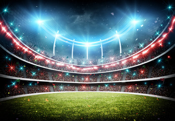Fototapete - stadium with fireworks 3d