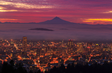 Self adhesive Wall Murals Crimson before sunrise of Portland