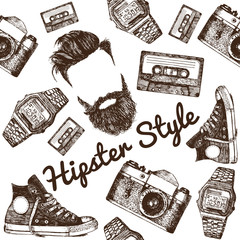 Vector Hipster Style Set #1. Hipster accessories in retro sepia style on white background. Seamless pattern.background. Seamless pattern.