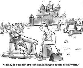 Business cartoon about leaders breaking down walls between departments.